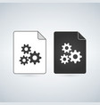 black and white settings gears file icon isolated vector image