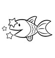 black and white water fish character side signs vector image