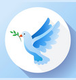 blue dove with branch peace icon flying blue bird vector image vector image