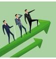 business men climbing growth arrows cooperation vector image vector image
