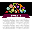 candies and sweets poster of confectionery caramel vector image