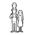 caricature thick contour faceless family mother vector image vector image