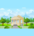 cartoon family house on mountain against sky blue vector image