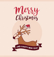 christmas and new year holiday santa claus deer vector image vector image