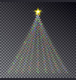 christmas light tree with garland isolated on dark vector image vector image