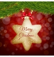 Christmas postcard with gold star on red bokeh vector image