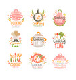 cooking time studio logo design kitchen emblem vector image vector image