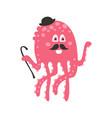 cute cartoon pink octopus gentleman character with vector image