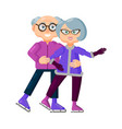 cute seniors in winter clothes skating on ice vector image vector image