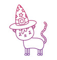degraded outline nice cat animal with witch hat vector image vector image