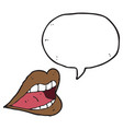 digitally drawn lips and speech bubbles design vector image vector image