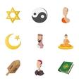 Faith icons set cartoon style vector image vector image