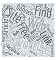 Finding Free Advertising on the Web Word Cloud vector image vector image