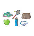 fitness sport icons set tennis racket ball vector image vector image