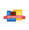 flat icon of duty free chocolate bars at vector image vector image
