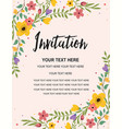 floral anniversary party invitation card template vector image vector image
