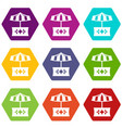 food stall icons set 9 vector image vector image