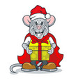 funny rat character in santa claus clothes and vector image