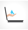 Hand holding water drops comes from laptop screen