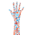 Hand symbol with media icons texture vector image vector image