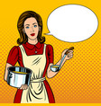housewife woman pop art style vector image