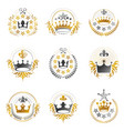 imperial crowns emblems set heraldic coat of vector image vector image