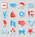 july month theme set of simple stickers eps10 vector image vector image