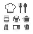 Kitchen cooking icons isolated on white vector image vector image