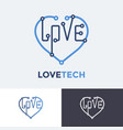 logo love tech heart technology concept design vector image