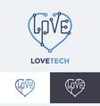 logo love tech heart technology concept design vector image vector image