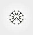 mountain sun line art icon logo symbol design vector image vector image