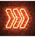 Neon arrow on wall vector image vector image