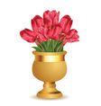 Pink tulips in golden vase vector image