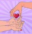 pop art charity organ donation concept vector image vector image