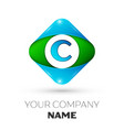 realistic letter c logo in colorful rhombus vector image vector image