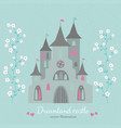 retro style dreamland castle with white flowers vector image