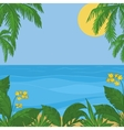 sea sun sky foliage and flowers vector image vector image