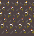 seamless pattern with colorful wild camomiles vector image vector image