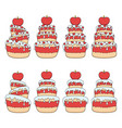 set color with red and white cake vector image vector image