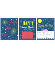 set of 3 greeting cards for new year vector image vector image