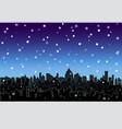 snowy landscape modern city night skyline vector image
