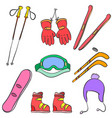 sport equipment colorful doodle style vector image vector image