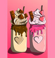sweet milkshake chocolate and strawberries vector image