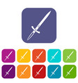 sword icons set flat vector image vector image