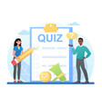 taking a quiz on clipboard with checklist vector image