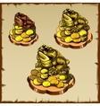 Three frog figurines sitting on gold vector image vector image