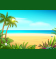 tropical paradise island sandy beach palm trees vector image vector image