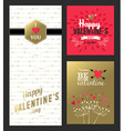 Valentines day retro greeting card set gold pink vector image