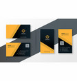 yellow and black simple business card design vector image vector image