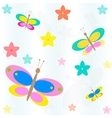 seamless background with flowers and butterflies vector image